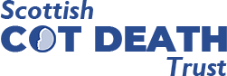 scottish cot death trust logo blue text only